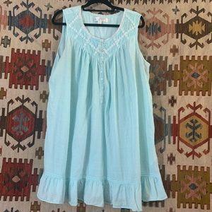 Vintage baby blue Swiss dot daisy bib collar dress
